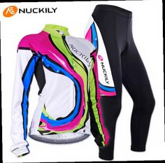 51.95$  Buy here - http://alicax.worldwells.pw/go.php?t=32345297189 - Free Shipping NUCKILY Quality Women's Long Sleeve Cycling Set Thermal Fleece Riding Bike Sponge Padded Jersey Ciclismo