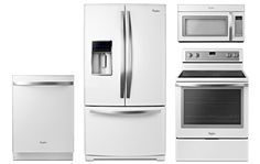 """Whirlpool Gold 29 Cu. Ft. French Door White Ice Refrigerator With Bottom Freezer - WRF989SDAH/ Whirlpool White Microwave Hood Combination - WMH53520AH/ Whirlpool 30"""" White Freestanding Electric Range - WFE710H0AH/ Whirlpool Gold Series White Built-In Dishwasher - WDT910SAYH"""