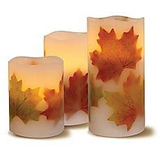 image of Loft Living 3-Piece Flameless LED Harvest Pillar Candle Set