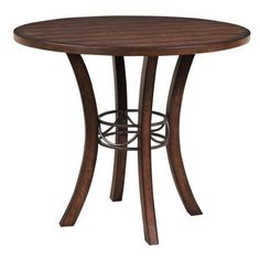 42 round counter height table | Counter height dining table. Chestnut brown finish wood. Dark gray ...