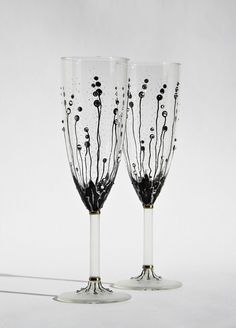 Wedding Glasses Hand Painted Champagne Flutes by NevenaArtGlass, $49.80