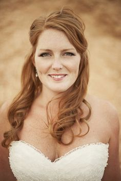 Image by Nordica Photography. Bridal beauty, NAtural make-up. False lashes. Red head. Tousled hair. Half up half down bridal hair.