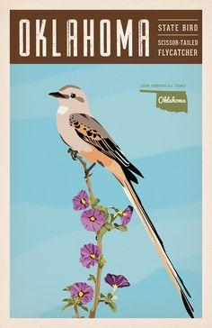 Vintage Oklahoma Series Poster #1 - Scissor-tailed Flycatcher - OK State Bird