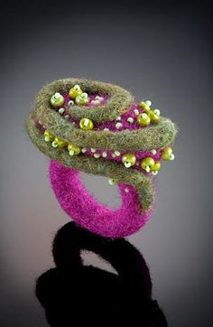 Felted ring with seed beads to make