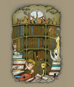Uncle Griffinskitch's library. 2010 ~ pen and ink with digital colour  Illustration from Kendra Kandlestar and the Crack in Kazah