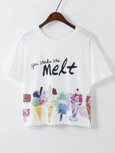 Ice Cream Print Loose T-shirt