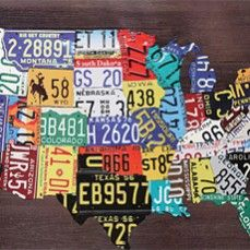 License Plate USA Map from Antique Farm House    $92.00 @ www.antiquefarmho...