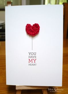 Valentines Card with Crochet Heart by Moz