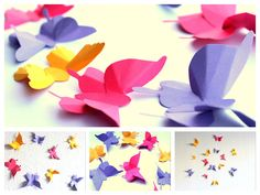 This is a set of 14 handmade folded beautiful butterflies .These butterflies are gorgeous for your nursery,girl's room,living rooms,table decorations and for any special occasion Colors Used: Yellow,Pink and Purple Butterfly Sizes: Ranges from 1 to 5 inches