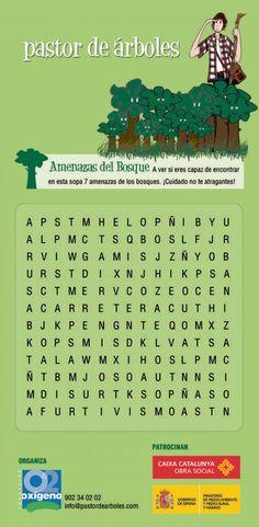 Sopa de letras = 7 amenazas de los bosques