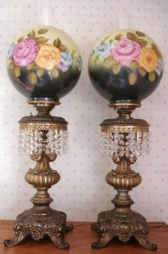 Great deals from Annie's Attic Collections in Lamps-Oil-Lamps Antique Oil Lamps, Old Lamps, Antique Lighting, Vintage Lamps, Victorian Lamps, Victorian Interiors, Shade Roses, Glass Lamp Base, Banquet