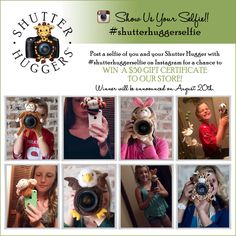 Post your Shutter Hugger selfies on Instagram for a chance to win a $50 e-gift certificate to our store! #shutterhuggers #shutterhuggerselfie