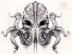 Grey Ink Cthulhu Tattoo Design