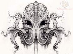 Grey Ink Cthulhu Tattoo Design