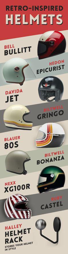 Retro inspired helmets for Cafe Racers Cafe Racer Helmet, Cafe Racer Motorcycle, Moto Bike, Retro Helmet, Vintage Helmet, Racing Helmets, Motorcycle Helmets, Casque Bell, Karts