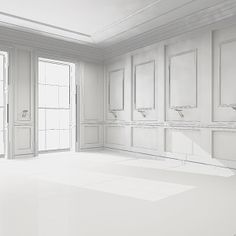 Empty interior scene Model available on Turbo Squid, the world's leading provider of digital models for visualization, films, television, and games. Empty Spaces, Empty Room, Clean Space, Wall Molding, White Space, Living Room Designs, House Design, Flooring, Interior Design