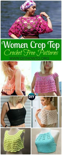 Collection of Crochet Women Summer Crop Top Free Patterns: Fringed Tops, Beach Top, Bra Tops, Sleeveless Tops via /diyhowto/