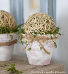 How to Make Decorative Mossy Pots via Town and Country Living: