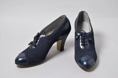 England - Shoes by K Shoes - Suede, glacé kid leather, machine stitching, silk laces with bead tag, lined with leather Suede Shoes, Leather Shoes, 1930s Shoes, Evening Shoes, Black Button, Shoe Shop, Blue Suede, Grey Leather, Shoe Collection