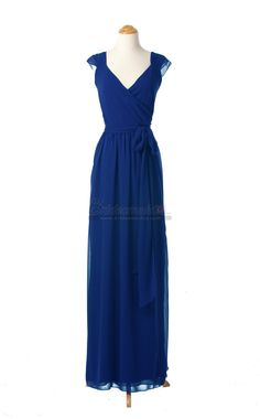 V Neck Long Royal Blue Backless Chiffon Bridesmaid Dress in Blue Chiffon BDS-CA067 - BridesmaidCA.com
