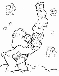Care Bear Coloring Pages Printable - Printable Coloring Pages To Print Ice Cream Coloring Pages, Bear Coloring Pages, Cartoon Coloring Pages, Coloring Pages To Print, Adult Coloring Pages, Coloring Pages For Kids, Coloring Sheets, Free Printable Coloring Pages, Coloring Books