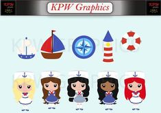 Little Nautical Sailor Girls Clip-art Set in a PNG format. Personal & Small Commercial use