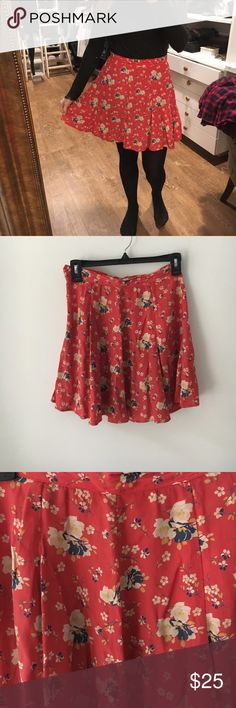 Red floral mini skater shirt Orange/red base with white, yellow and blue flowers.  Skater skirt, unlined.  Size zip and button Topshop Skirts Mini