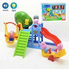 Peppa Pig Amusement Park Playset Toy Set with Light Music and 4 Pcs Peppa Friend