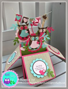Stampin' Up! Owl Punch Pop Up Box Card, via bluejellystampin Owl Punch Cards, Pop Up Box Cards, 3d Cards, Folded Cards, Card Boxes, Cards Diy, Tarjetas Diy, Exploding Box Card, Stampin Up