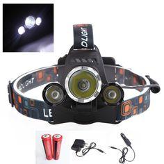 3 헤드 라이트 6000 루멘 크리 XM-L T6 헤드 램프 높은 전원 LED 헤드 + 2*18650 5000 미리암페르하우어 배터리 + 충전기 + 자동차 EU/미국 충전기