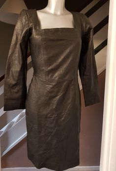 LADIES BLACK LEATHER DRESS LONG SLEEVE | eBay