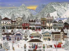 Holiday Village Painting by Jennifer Lake