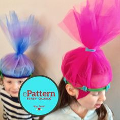 Its Dance Party Time! Play dress up with your little Trolls fan, complete with hot pink hair and Princess Poppy Crown (or a purple Branch Crown). This easy to sew pattern can be made in less than an hour and only requires a bit of felt and tulle fabric.  This listing is for an instant