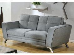 2-Sitzer-Sofa Stoff Ciceron Federkern- Grau