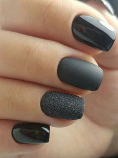 Super Awesome Mate Black and Glitter Nail Art Designs for Prom #GlitterNails