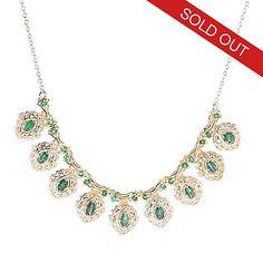"146-702 - Gems en Vogue 18"" 2.43ctw Zambian Emerald Scrollwork Halo Necklace"