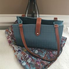 Authentic Kate Spade Handbag Medium blue with brown leather straps. An original Kate purse with her designs on this gorgeous bag. The closure is s leather strap that snaps on. Interior is s black liner with one side zipper compartment.. Open and spacious in this medium size tote. Excellent condition kate spade Bags Totes