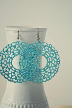 Large Tiffany Blue Metal Filigree Boho Earrings by HazelAndCompany $11