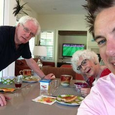 John Barrowman - Saturday Morning Breakfast in Palm Springs with Football on in the background. Man United v Stoke City.  Jb