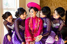 purple red ao dai, traditional vietnamese tea ceremony