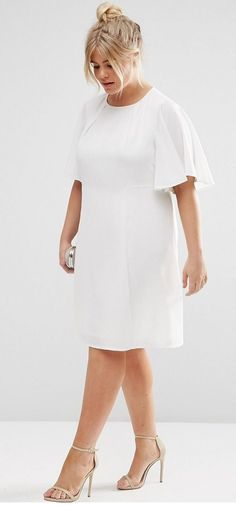Plus Size Swing Dress with Ruffle Sleeve  plussizedresses Valkoinen Mekko 18a2102d84