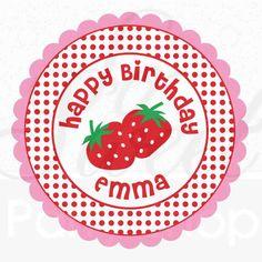 24 Girls Birthday Personalized Stickers - Party Favors, Birthday Decorations - Strawberry Birthday Party. $6.00, via Etsy.
