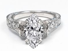 Large Marquise Diamond Cathedral Graduated Pave Engagement Ring 1.25 tcw. In 14K White Gold