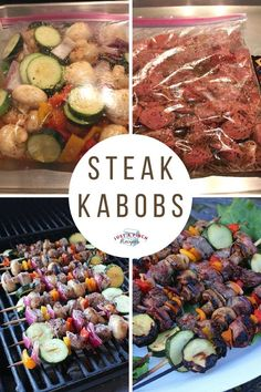 """Steak Kabobs """"This is a summer favorite of mine. I also frequently make these while we're camping.""""""""This is a summer favorite of mine. I also frequently make these while we're camping. Grilling Recipes, Beef Recipes, Cooking Recipes, Healthy Recipes, Healthy Meals, Healthy Food, Cooking Ideas, Healthy Camping Foods, Fall Recipes"""