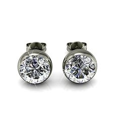 R-timer Swarovski Elements Crystal Round-Cut Stud Earrings 18K Gold-Plated by R-timer -- Awesome products selected by Anna Churchill