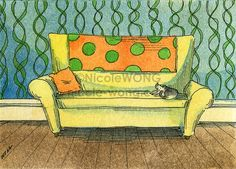Original ACEO Painting -- Cat on the couch