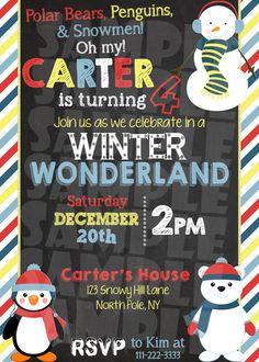 Polar Bears, Penguins, and Snowmen Themed Invitation - Winter Wonderland Invitation - Winter ONEderland - Snowman Party Invite