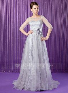 Vestidos para a mãe da noiva - $156.99 - Vestidos princesa/ Formato A Decote redondo Sweep/Brush trem Tule Charmeuse Renda Vestido para a mãe da noiva com Bordado fecho de correr Lantejoulas (008018962) http://jjshouse.com/pt/Vestidos-Princesa-Formato-A-Decote-Redondo-Sweep-Brush-Trem-Tule-Charmeuse-Renda-Vestido-Para-A-Mae-Da-Noiva-Com-Bordado-Fecho-De-Correr-Lantejoulas-008018962-g18962