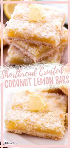These Coconut Lemon Bars have a shortbread crust, a tangy lemon filling, and are topped with toasted coconut to make a tropical lemon dessert bar perfect the summer season. Lime Desserts, Coconut Desserts, Spring Desserts, Coconut Recipes, Homemade Desserts, Easy Desserts, Lemon Coconut Bars, Lemon Bars, Toasted Coconut