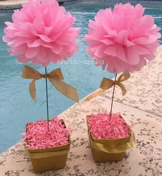 Hint of Gold// floral tissue paper pom pom topiary centerpiece Baby Shower/Bridal - Decoration For Home Topiary Centerpieces, Baby Shower Centerpieces, Baby Shower Decorations, Flower Decorations, Tissue Paper Decorations, Paper Flower Centerpieces, Table Decorations, Papel Tissue, Tissue Paper Flowers
